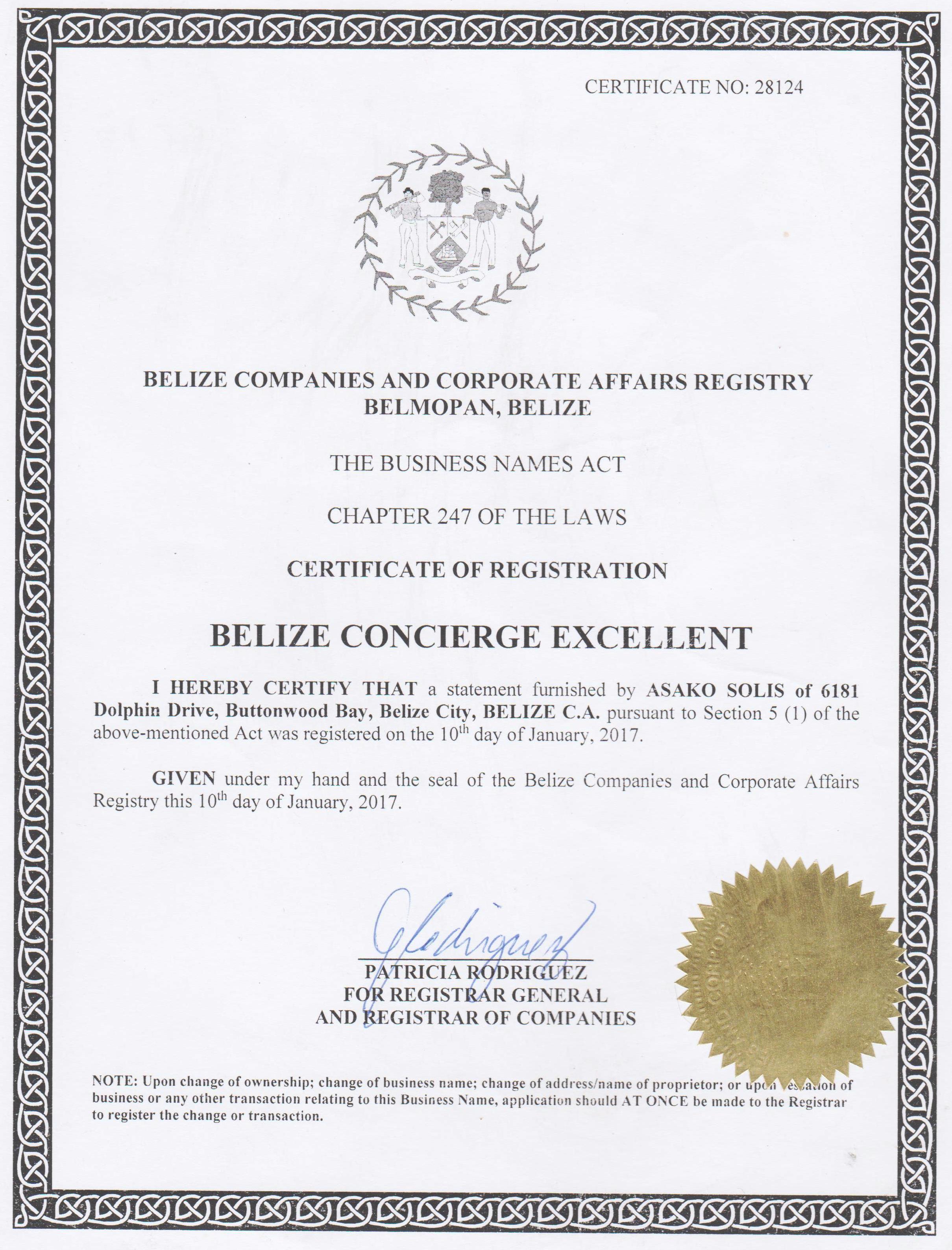 Certificate Of Company Registration Belize Concierge Excellent